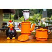 Kit laranja mini bule, galinha preta e açucareiro