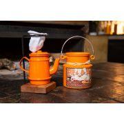 Kit mini bule 250 ml  e leiteira 500 ml laranja