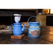 Kit mini bule com leiteira azul claro