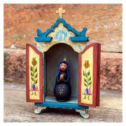 Kit oratório capela em madeira e Nossa Senhora Aparecida em cabaça