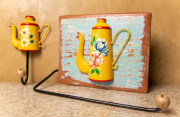 Kit Porta Papel Toalha e Gancho - Amarelo