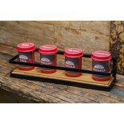 Kit porta temperos preto com porta temperos vermelho
