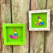 Kit Quadros em Madeira Rústica Decorados com Barco - Verde