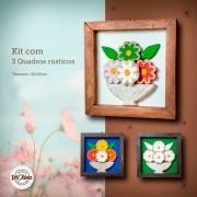 kit quadros em madeira rústico decorado ao centro com flores