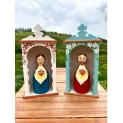 Kit Oratórios + Sagrado Coração de Jesus e Maria em Toco