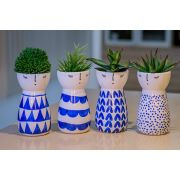 Kit vaso em cerâmica cachepot