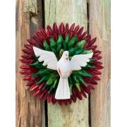 Mandala Divino Espírito Santo em Madeira, Folhas e Sementes Secas