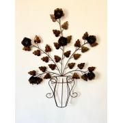 Moldura em Forma de Vaso de Flores Ouro Envelhecido