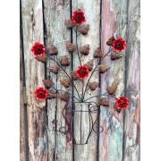 Moldura em Forma de Vaso de Flores Vermelhas