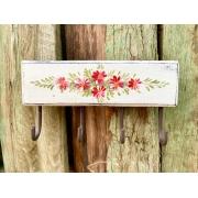 Porta Chaves Branco com Detalhes em Flor