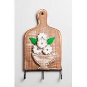 Porta Chaves com 3 Ganchos - Tábua com Flores Brancas