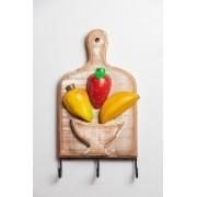 Porta Chaves com 3 Ganchos - Tábua com Misto de Frutas