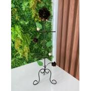 Porta Papel Higiênico em Ferro com Flores Ouro Envelhecido - 67 x 22 cm
