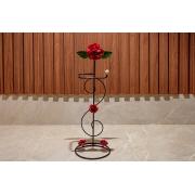 Porta Papel Higiênico em Ferro com Flores Vermelhas