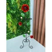 Porta Papel Higiênico em Ferro com Flores Vermelhas - 67 x 22 cm