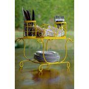 Porta Pratos, Talheres e Copos de Mesa em Ferro - Amarelo