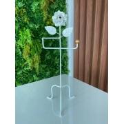 Porta Toalha com Detalhe de Flor em Ferro - Branco