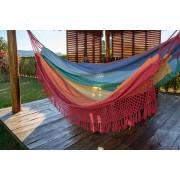 Rede de Crochê - Arco-íris com Babado Vermelho