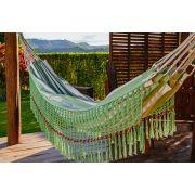 Rede de Crochê - Listrada em Verde Claro com Babado em Bolinha Verde Claro