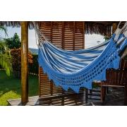 Rede de Crochê - Listrada em Azul Escuro com Babado em Bico Azul Escuro
