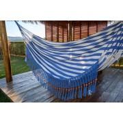 Rede de Crochê - Listrada em Azul Escuro com Babado em Bolinha Azul Escuro