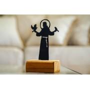 São Francisco de Assis em ferro com a  base em madeira