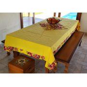 Toalha de Mesa Amarela Barra de Chita com Compose