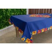 Toalha de Mesa Azul Escuro Barra de Chita com Compose