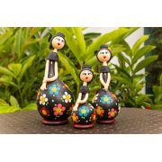 Trio de bonecas em cabaça cabelo preto