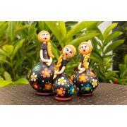 Trio de bonecas em cabaça loira