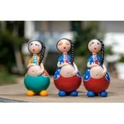 Trio de Bonecas Grávidas Encantadas em Cabaça