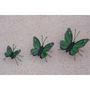Trio de Borboletas em Ferro - Verde