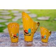 Trio de Conchas de Cereal Decorativas em Lata - Amarelo com Pintura