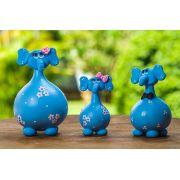 Trio de Elefantes Azuis em Cabaça