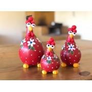 Trio de Galinhas em Cabaça - Vermelha com Flores Brancas