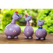 Trio de Hipopótamos em Cabaça - Lilás