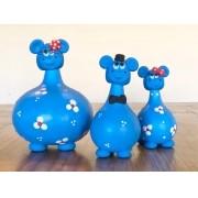 Trio de Hipopótamos em Cabaça - Azul