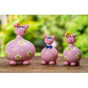 Trio de porcos em cabaça rosa