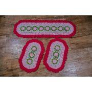 Trio de tapetes em crochê rosa de barbante