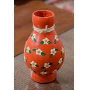 Vaso Decorativo em Cabaça - Laranja com Flores