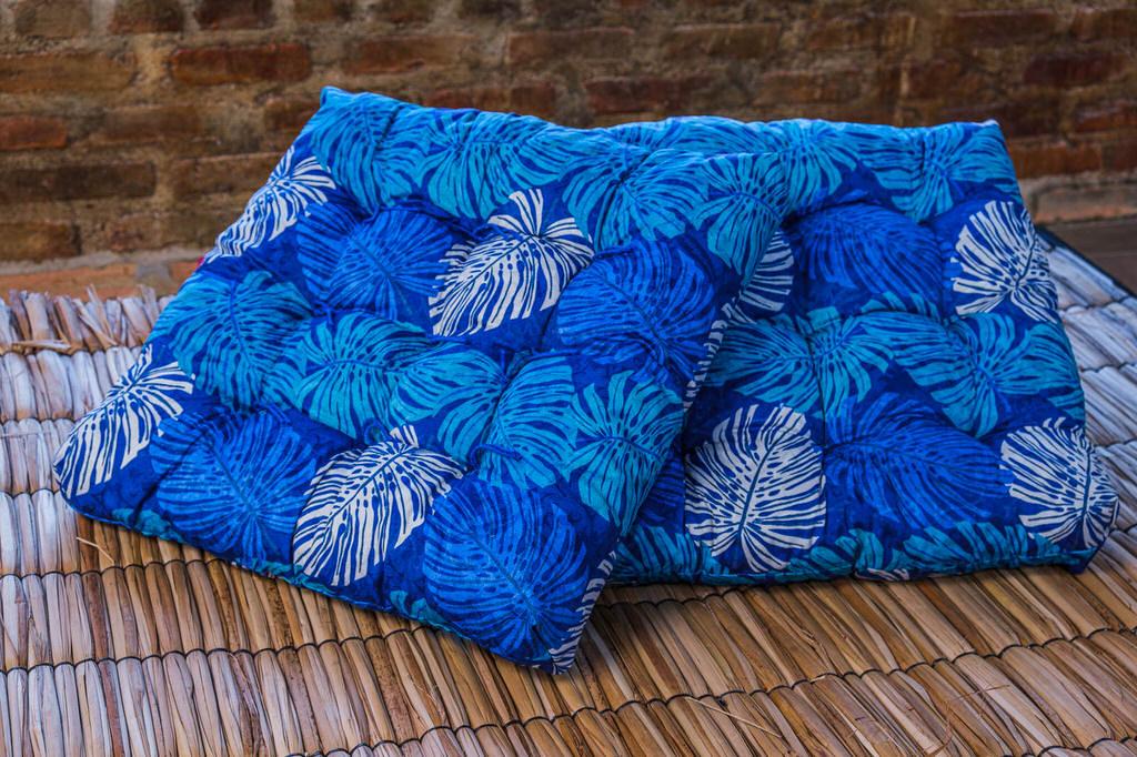 Almofada Futon Azul Floral - 55 x 55 cm