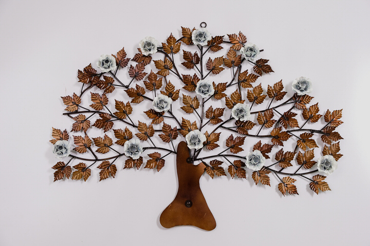 Árvore em Ferro Decorativa para Parede com Flores - Branca