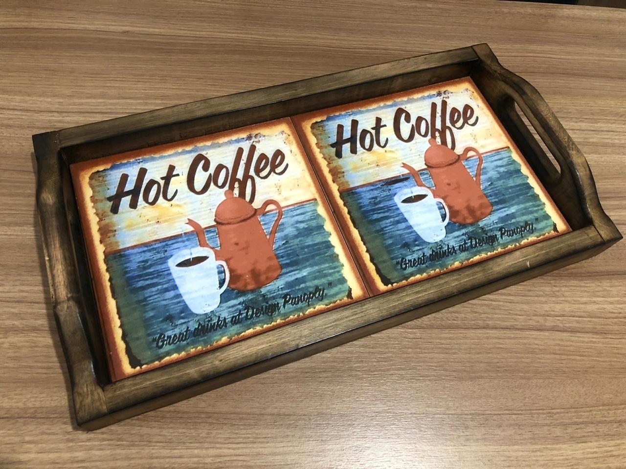 Bandeja em Madeira e 2 Ladrilhos - Hot Coffee 2