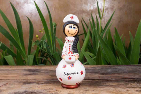 Boneco em Cabaça Profissões - Enfermeira
