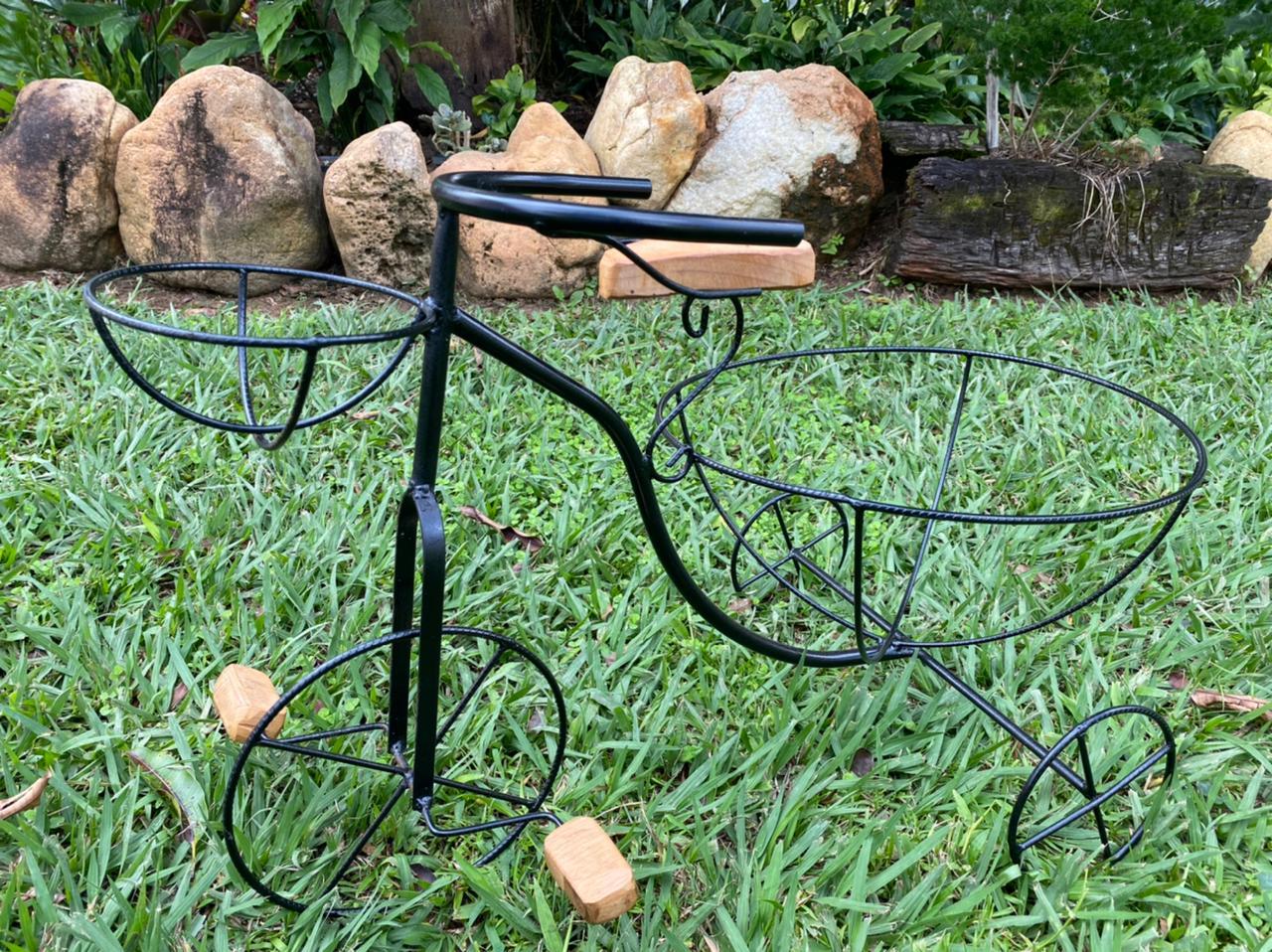 Cachepot Duplo em Formato de Bicicleta em Ferro