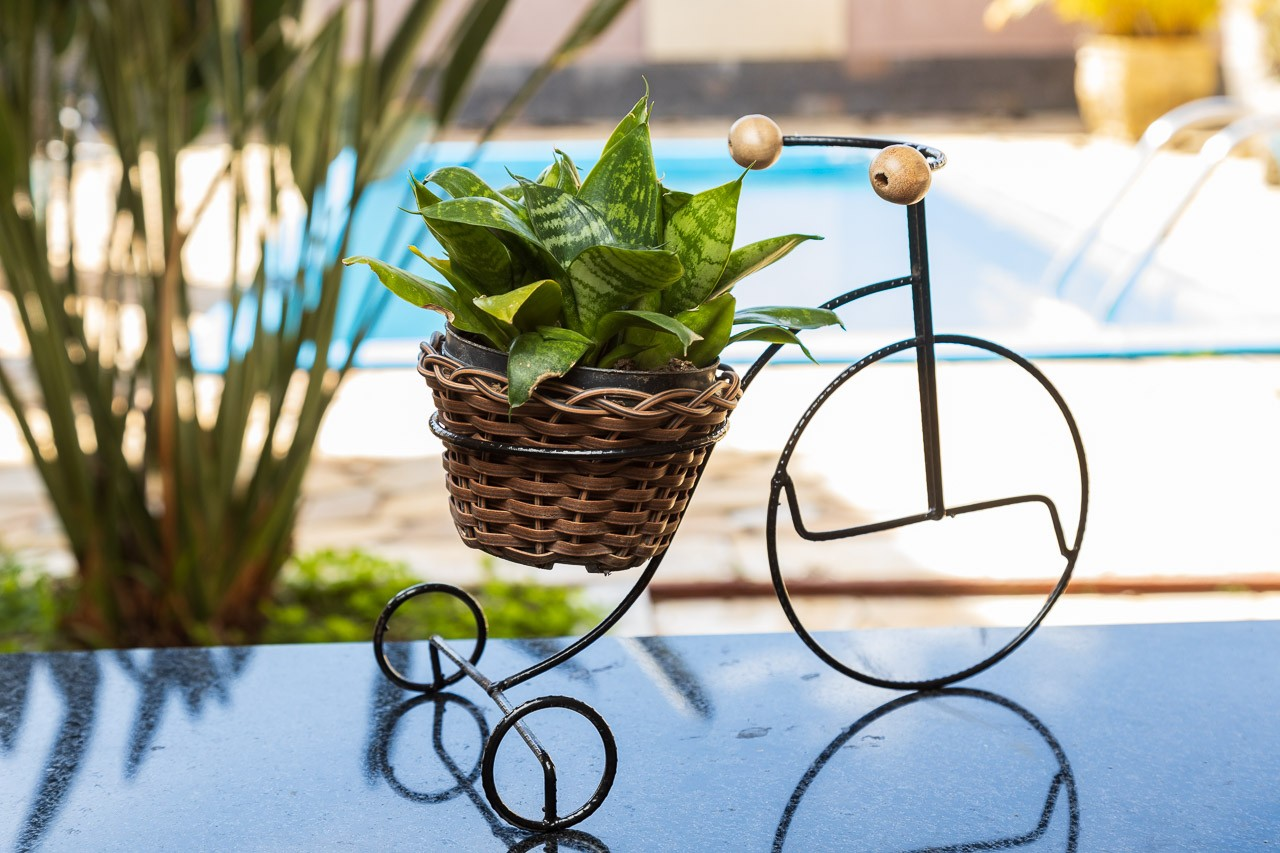 Cachepot em formato de bicicleta em ferro