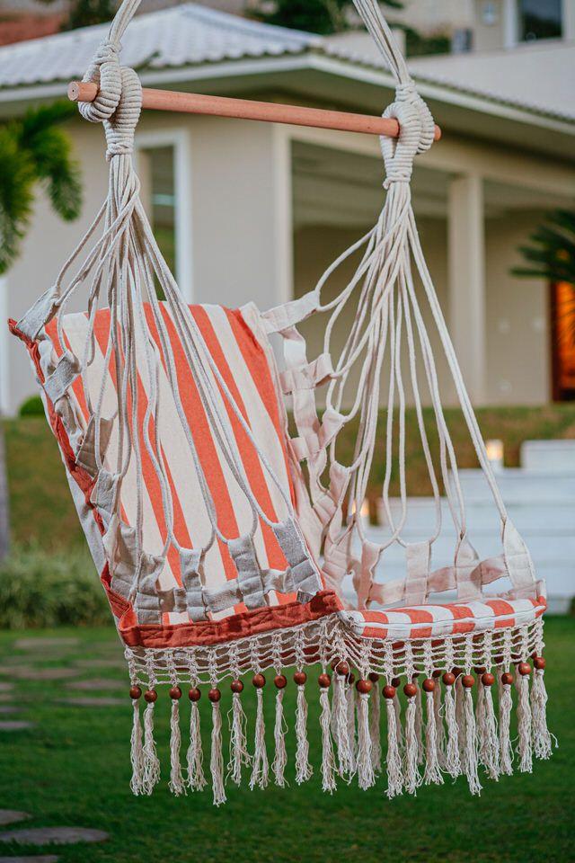 Cadeira de Balanço de Bolinha - Listrada em Laranja