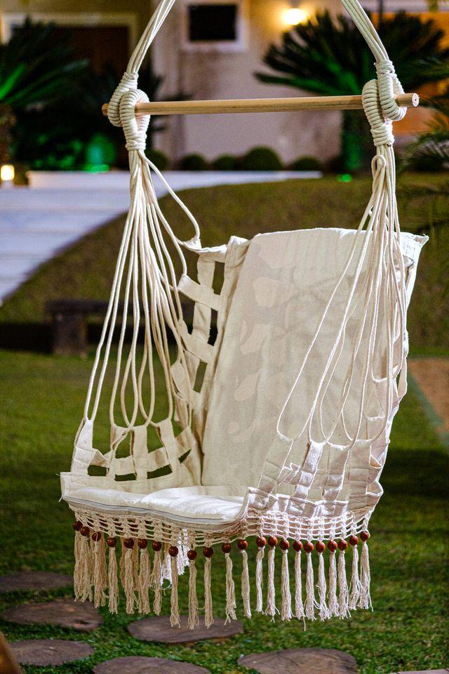 Cadeira de Balanço de Bolinha - Cru