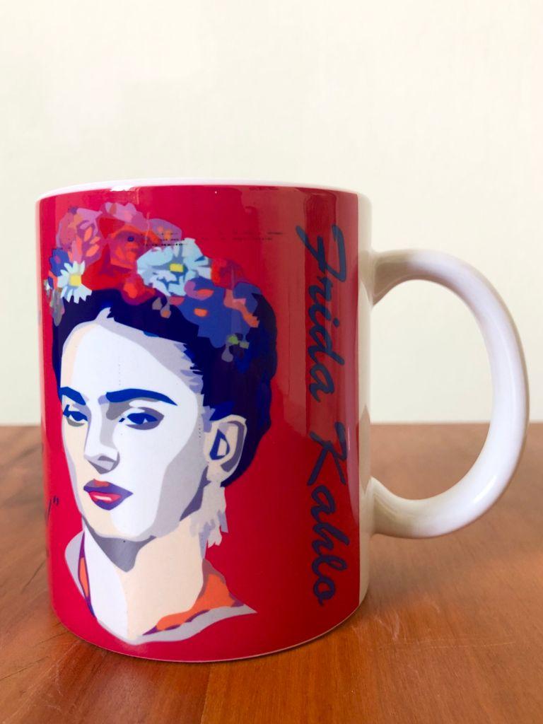Caneca em Porcelana Frida Kahlo 300 ml - Rosa