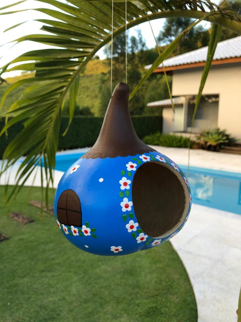 Casa de Pássaro em Cabaça - Azul